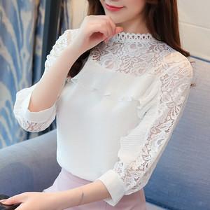 2019 estate nuova versione coreana del rilassato fata Super camicetta di pizzo arruffato camicetta 7 - chiffon manica camicetta femminile