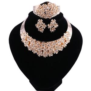 Afrikanische Perlen Schmuck Set Kristall Hochzeit Blume Halskette Ohrringe Set für Frauen Dubai Luxus Brautschmuck Sets