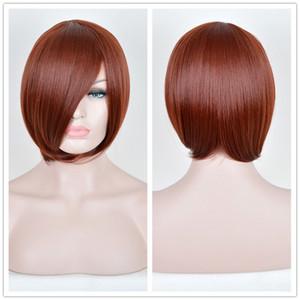 شعر مستعار بوب قصيرة الانفجارات ريمي الشعر الاصطناعية كامل الباروكات الظلام COPPER الأحمر الباروكة