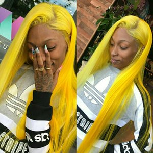 Yellow Cosplay Long Silky Straight Fiber Wigs High Quality Heat Resistant Glueless Synthetic Lace Front Wigs for Black Women