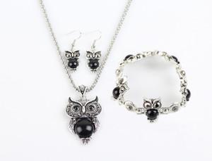 Monili poco costosi Imposta Turchese Owls orecchini collane del pendente braccialetti si è regolato per il regalo di Natale del regalo delle donne Party Girl Retro Fashion Jewelry
