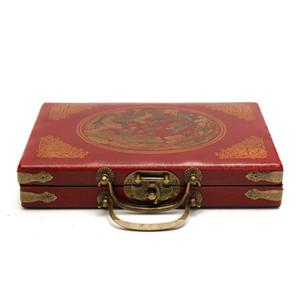 144 Mah-Jong Set Портативный ретро маджонг Box Rare китайский Bamboo Кусок с коробкой новый красный меламин