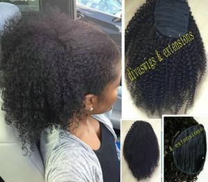 Soplo natural Mujeres Extensiones de Cabello Afro Kinky pelo rizado cola de caballo postizo Cordón de cola de caballo piezas de bollos Peruca color natural 160g