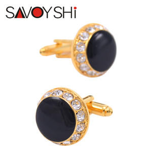 SAVOYSHI Classic Shirts Brand Cuff Bottons Rhinestones Cufflinks for Mens High Quality Round Black Enamel Cuff Links Wedding