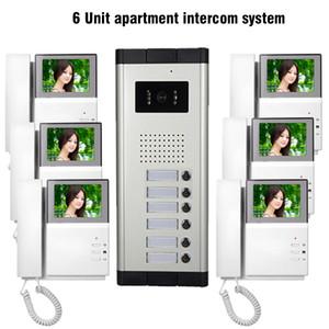 """6 Einheit Wohnung Video Door Phone Intercom System 4.3 """"Visuelle Gegensprechanlage für Wohnungen Video-Türklingel-Türsprecher-Interphone-Kit"""