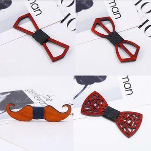 2018 Мода Vintage Red Rosewood Bow Ties Hollow Out Bowknot для свадебного браслера для мальчиков Бесплатная доставка