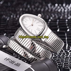 Luxury Serpenti Tubogas 101911 SP35C6SS.2T الأبيض الهاتفي سويس كوارتز المرأة ووتش الفولاذ الصلب حالة سوار أزياء سيدة مصمم الساعات