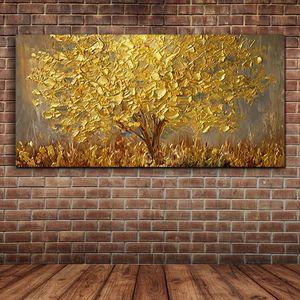 Grande Faca árvores óleo pintados à mão da pintura em pinturas da lona Paleta de Ouro Amarelo presentes abstrata moderna Wall Art Pictures Home Decor
