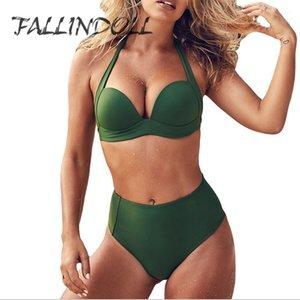 Push Up Yüksek Bel Bikini Seti 2018 Kadın Yaz Beachwear Seksi Halter Üst Mayo Biquini Kadınlar Için Mayo FALLINDOLL