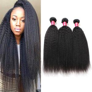 Yaki Düz 8A Mike Brezilyalı Virgin Saç Paketler 3 Paketler Afro Kinky Düz Moğol Perulu İşlenmemiş Remy İnsan Saç Dokuma