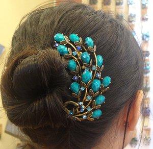 Retro Peacock Hair Combs Bronce Antiguo Chapado Pinzas Para el Cabello Horquillas Tocado Exquisito Joyería Del Pelo Para Las Mujeres