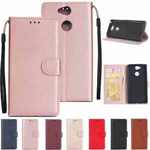 Luxuxfall für Sony Xperia L2 XZ2 XA2 Ultra-kompakter Plain-Leder-Geldbörsen-Rahmen Identifikation-Karten-Schlitz-Schlag-Abdeckung Stand-Rotgoldbuch-Beutel-Bügel