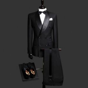 블랙 더블 브레스트 웨딩 남자 정장 Shawl Lapel 스트레이트 정식 웨딩 턱시도 신랑 두 조각 정장 (자켓 + 바지)