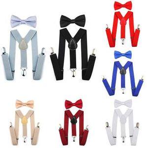 Élastique réglable enfants bretelles avec noeud papillon noeud papillon ensemble cravates assorties tenues jarretelles pour fille garçon 7 couleurs BBYES