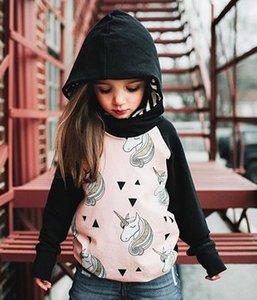 2018 새로운 도착 봄 가을 1-3T Baby Girl 후드 탑스 긴 소매 코튼 블랙 핑크 유니콘 프린트 스웨트