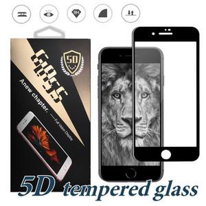 Vidrio templado 5D para iPhone 11 PRO MAX XR XS MAX Protector de pantalla Película protectora completamente curvada para iPhone X 7 8 PLUS con estuche