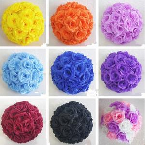 Upscale Weiß Künstliche Rose Seidenblume Ball Hängen Kissing Balls 30 cm 12 Zoll Durchmesser Ball Für Hochzeit Dekoration Lieferungen
