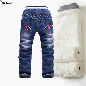 GB-Kcool Kış Büyük Erkek Kot 2016 Çocuk Denim Kalın Sıcak Pantolon Rahat Çocuklar Artı Kadife Kız Kot Erkek Pantolon 2-14 y Y18103008 için