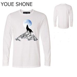 Erkekler t-shirt genç spor tişörtleri% 100 pamuk erkekler Pioneer Camp Moda 3D baskı kurt desen gündelik Uzun kollu polo Tişörtler