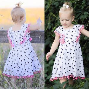 아기 소녀 드레스 플라밍고 아기 패션 인쇄 민소매 개의 Tassels 드레스 2018 새로운 INS 아이 드레스 유아 의류 아동 의류 Z11