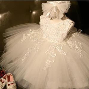 Branco Marfim Princesa Primeira Comunhão Vestidos Para A Menina de Renda de Tule Infantil Criança Pageant Flower Girl Dress para Vestidos de Aniversário Da Menina de Casamento