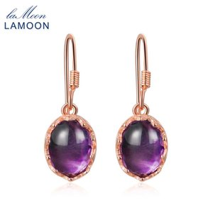 LAMOON 7x9mm 2.7ct 100% naturale ovale viola ametista 925 gioielli in argento sterling orecchini a goccia S925 LMEI036