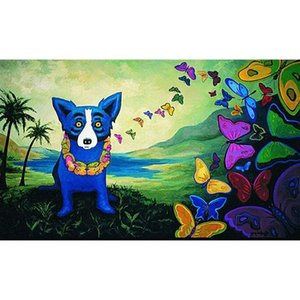 Large Pure Handpainted George Rodrigue Animal Blue Dog Art Oil Painting On Canvas Wall Art Home Decor Multi Sizes a178