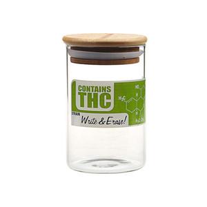 Rauchen Dogo Herb Container Dry Herb Vorratsflasche Sealed Container Glas Bong Rauchen Zubehör Glas mit Bambus Kappe
