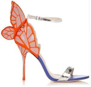 2019 Wunderschöne bunte Schmetterlings-Stilett-Absatz-Sandelholz-Schuh-Öffnen Toe Sexy Fashion Pumps Schuhe Angel Wings Lederschuhe