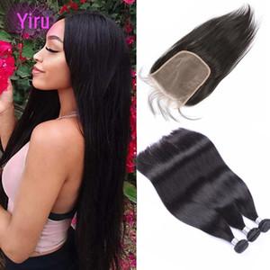 Malaysian Virgin Haar Bündel mit 6X6-Spitze-Schliessen mit dem Babyhaar gerade Menschenhaar-Verlängerungen mit 6 * 6 Closure Gratis Drei Mittelteil