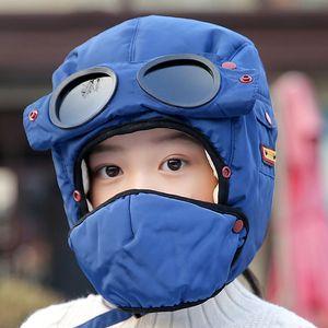 Bomber Hüte Mädchen-Kind-Winter-windundurchlässige Ski-Kappe mit Ohrenklappen und Maske Piloten Brille Warm-Flieger Kappe Junge Kids Trooper Trapper Cap