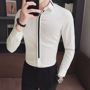 Men Shirt Long Sleeve Slim Fit Patchwork Mens Dress Shirts Formal Shirts Designs Camisa Social Masculina Men Business Shirt