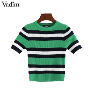 Vadim donne basic maglieria a righe crop top camicetta manica corta o collo elastico signore casual streetwear chic blusas DA142