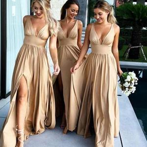 Vestito da damigella d'onore con scollo a V champagne con spacco sexy senza maniche in raso a terra lunghezza abiti da sposa semplici abiti da ballo a-line eleganti