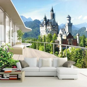 사용자 정의 사진 벽지 3D 스테레오 공간 벽화 거실 소파 침실 배경 Castle Landscape 3D Mural Wallpaper for Walls