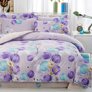 4PCs Bedding Sets Cute Floral Leaves Printed Jacquard Bedclothes for Kids Adult Bed Linens Duvet Cover Bed Sheet Pillowcases Set