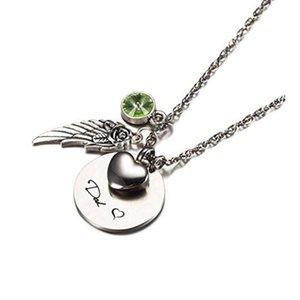 Fashion jewelry green birthstone heart wing urn cremation memorial keepsake necklace Urn pendant stainless steel jewelry