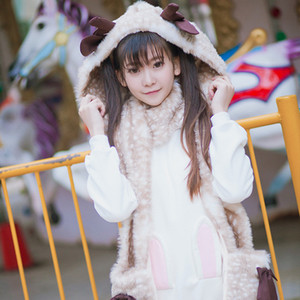 2018 Winter New Cute Girl Warm Plush Bib Deer Print Stereo Antler Scarf Full Of Headscarves