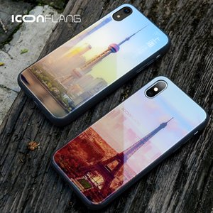 Phone Case for iPhone XS XR Cases Silicone Bumper Back Tempered Glass Fashion Eiffel Tower for iPhone XS XS Max Cover Coque