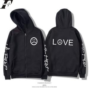 Lil Peep Triste Amour Imprimé Cardigan Mens Designer Sweats Hip Hop Casual Hoodies Mâle High Street Pull