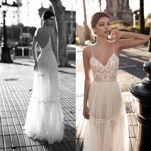 Hot Sale Lace Beach Wedding Dresses Spaghetti Straps Bohemian Backless Bridal Gowns A Line Tulle Appliqued Boho Beaded vestido de novia
