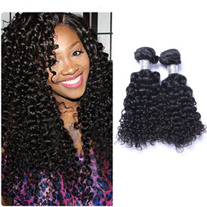 Peruvain Virgin Human Jerry Curly Weave 8-30 pollice 100 grammi / pezzo Corpo capelli mossi Naturale Nero 2 pz / lotto Estensioni dei capelli