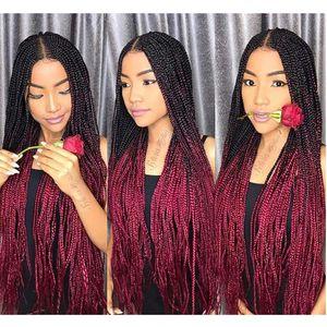 Ombre xpression tressage de cheveux deux tons 1b / 99j noirs racines noires Rouge foncé Kanekalon Couleur synthétique Tradition de tresses de cheveux Extensions de cheveux 24 pouces 100g