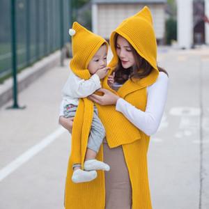 Schnelles Schiff! Nagelneues 8Colors Winter-im Freien knit Schal Pashmina-Ebene änderte warme Schals Hüte Eltern-Kind Winter-warmer Schal-Kappen S3