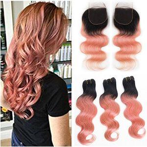 Brésilien Ombre Rose Vierge Cheveux Humains Weaves avec Fermeture Body Wave 1B / Rose Or Sombre Root Ombre 4x4 Dentelle Fermeture avec Weave Bundles