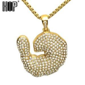HIP Hop Tam Rhineston Kerevit Karides Kolye Kolye Bling Out Out Paslanmaz Çelik Altın Renk Kolye Erkekler Takı için