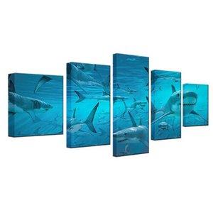 Spedizione gratuita 5 Pezzi Blu Deep Sea Shark Sciame Moderna Arte Della Parete Giclee Stampe Modulare Tela HD Stampe Poster Home Decor Olio Animale Pictur