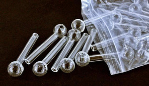 10 cm de longitud y 12 cm de tubo de vidrio de vidrio transparente de vidrio quemador de aceite de clavo aceite de tubería glasss EE.UU. envío libre