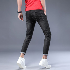 2018 Spring Summer Men Jeans Stretch Skinny Distressed Cuffs Men Denim Ankle-Length Pants Pleated Slim Casual Solid Washed