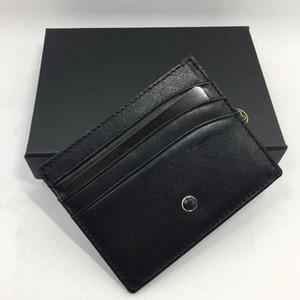 Siyah Hakiki Deri Kredi Kartı Tutucu Klasik Lüks Tasarım KIMLIK Kartı Vaka çanta Örgün İş Erkekler Ince Kart Sahipleri Cüzdan Para Cebi